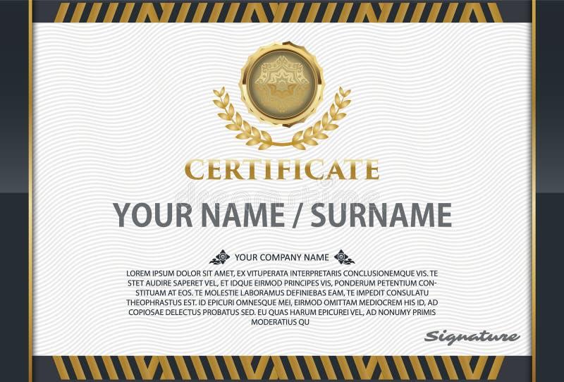Certificate o molde com teste padrão luxuoso, diploma, illustra do vetor ilustração do vetor