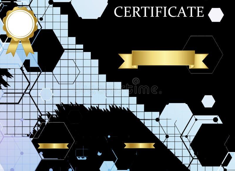 Certificate o molde com teste padr?o luxuoso e moderno, diploma Ilustra??o do vetor ilustração stock
