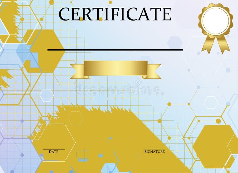Certificate o molde com teste padr?o luxuoso e moderno, diploma Ilustra??o do vetor ilustração do vetor