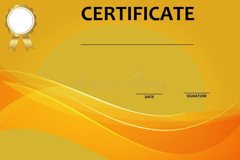 Certificate o molde com teste padr?o luxuoso e moderno, diploma Ilustra??o do vetor ilustração royalty free