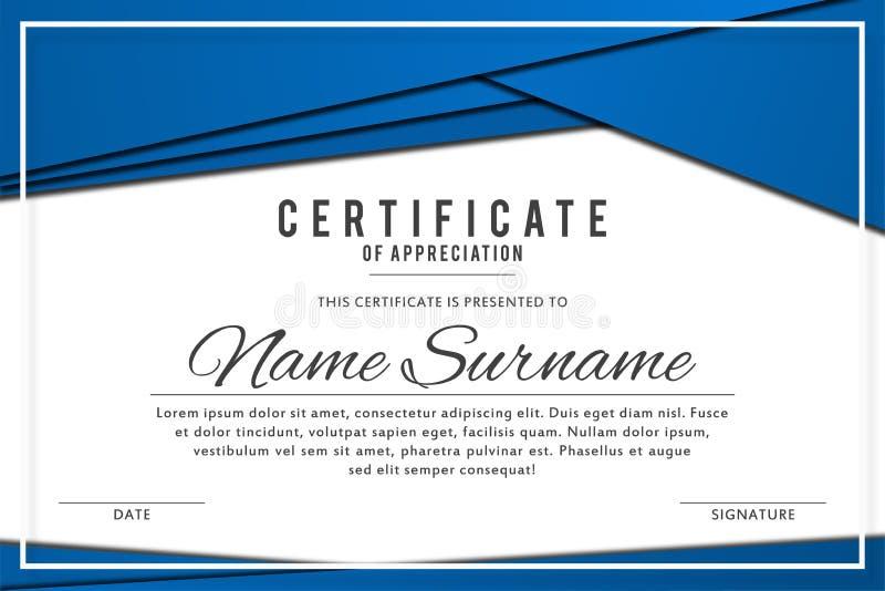 Certificate o molde na cor azul elegante com beiras abstratas, quadros Certificado da apreciação, diploma da concessão ilustração royalty free