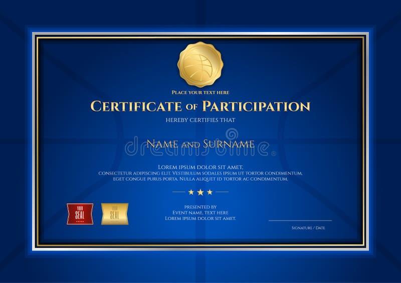 Certificate o molde no tema do esporte do basquetebol com backgro azul ilustração stock
