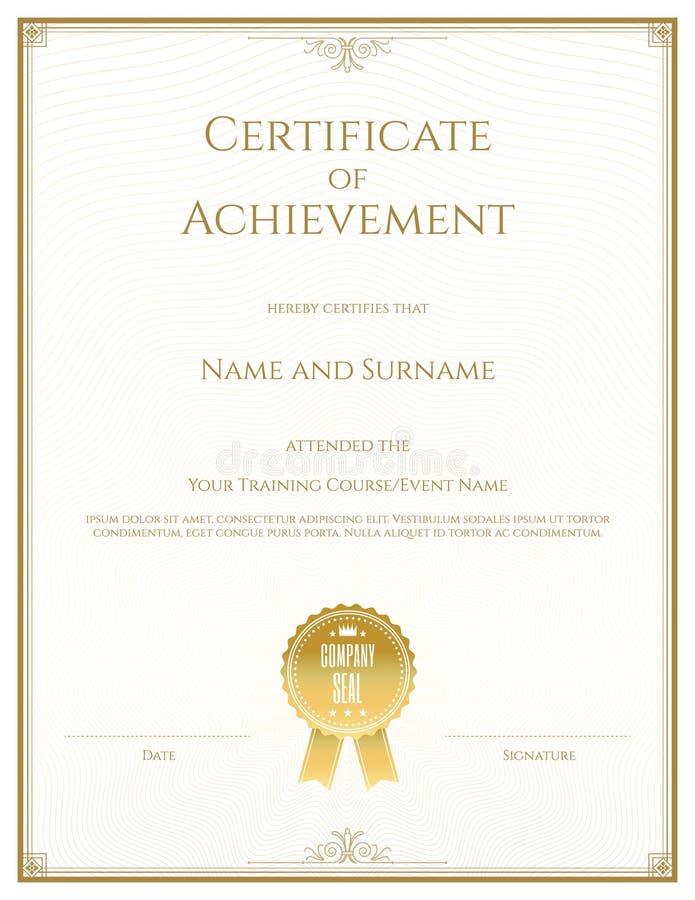 Certificate o molde no vetor para o comple da graduação da realização ilustração royalty free