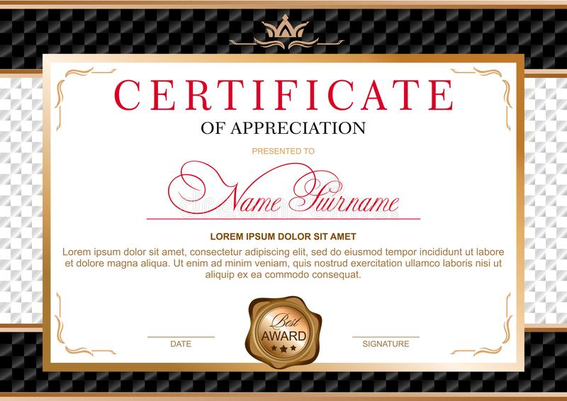 Certificate in the official, solemn, elegant, Royal style stock illustration