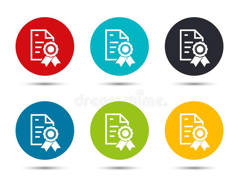 Certificate paper icon flat round button set illustration design. Isolated on white background stock illustration