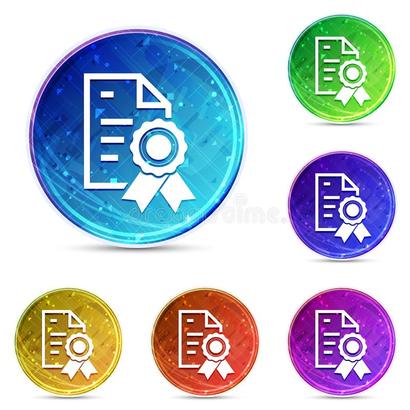 Certificate paper icon digital abstract round buttons set illustration. Certificate paper icon isolated on digital abstract round buttons set illustration royalty free illustration