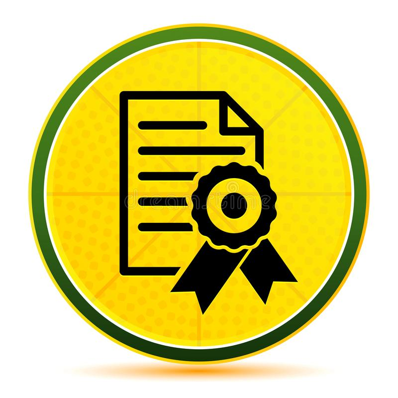 Certificate paper icon lemon lime yellow round button illustration. Certificate paper icon isolated on lemon lime yellow round button illustration royalty free illustration