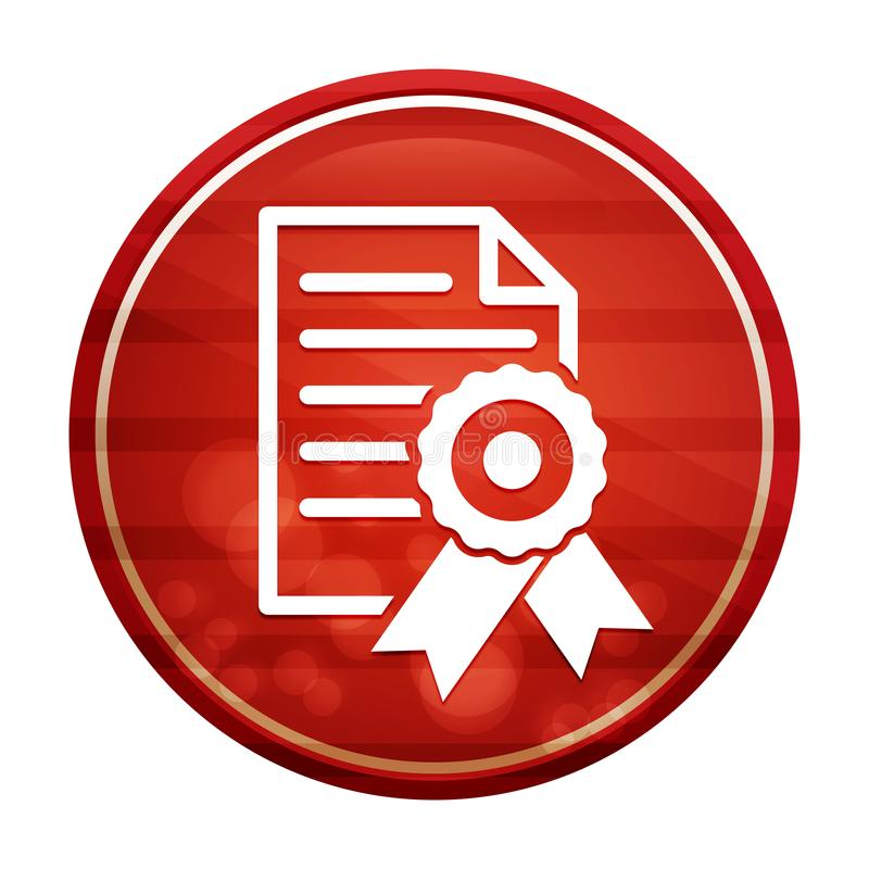Certificate paper icon realistic diagonal motion red round button illustration. Certificate paper icon isolated on realistic diagonal motion red round button stock illustration