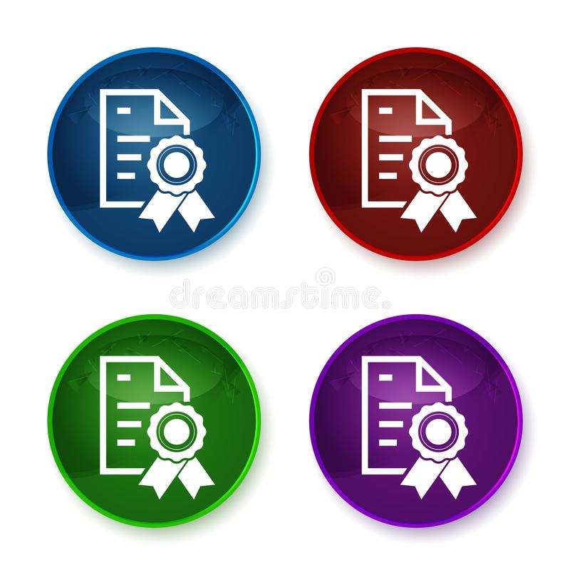 Certificate paper icon shiny round buttons set illustration. Certificate paper icon isolated on shiny round buttons set illustration royalty free illustration