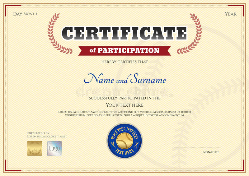 download certificate of participation template in baseball sport theme stock vector illustration of blank