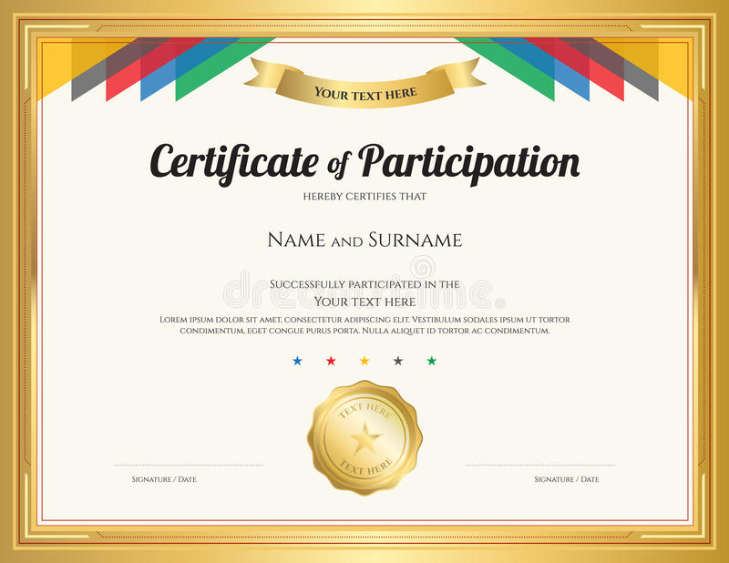 Download Certificate Of Participation Template With Gold Border Stock  Vector   Illustration Of Completion, Coupon  Certificate Of Participation Free Template