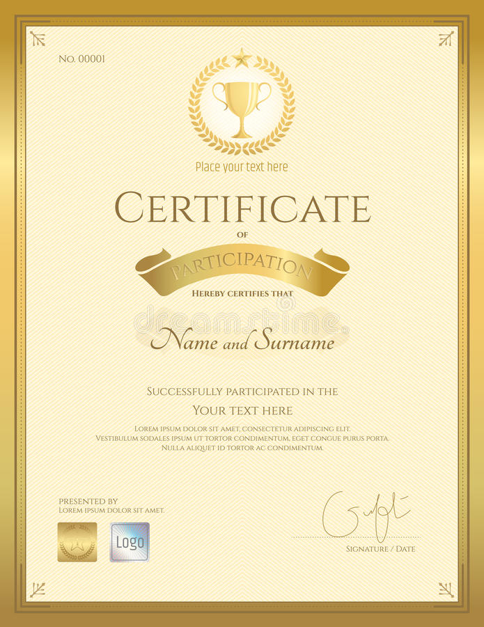 Download Certificate Of Participation Template In Gold Color Stock Vector    Illustration Of Print, Gift  Design Of Certificate Of Participation