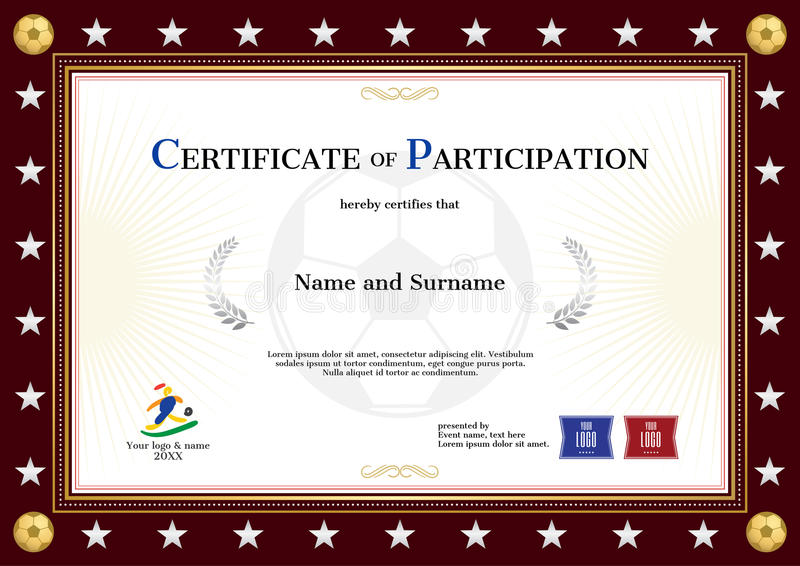 certificate of participation template in sport theme for