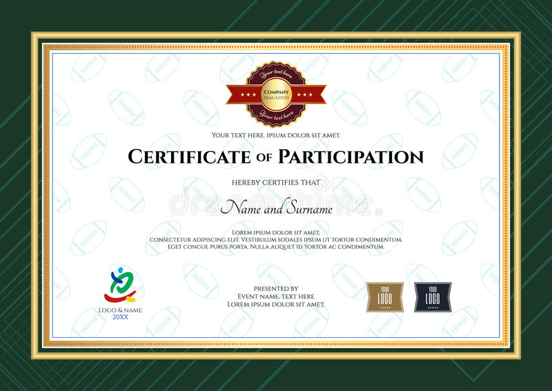 Certificate of participation template in sport theme with rugby download certificate of participation template in sport theme with rugby stock vector illustration of company yadclub Image collections