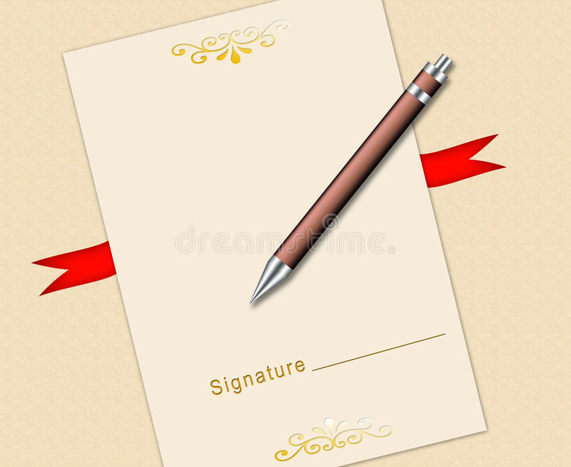 Download Certificate and pen stock illustration. Image of reward - 10700983