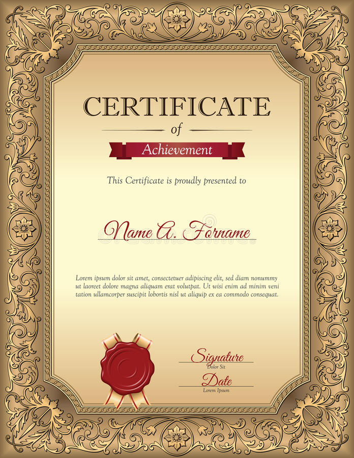 Certificate Of Recognition Template With Vintage Floral Frame Stock - Certificate of recognition template
