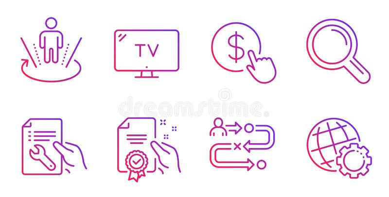 Certificate, Repair document and Augmented reality icons set. Tv, Journey path and Research signs. Vector. Certificate, Repair document and Augmented reality vector illustration