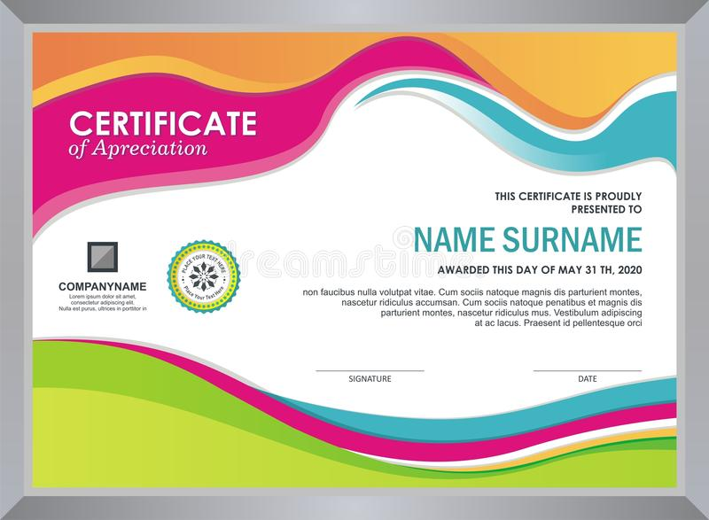 Certificate with stylish colorful wave design vector illustration