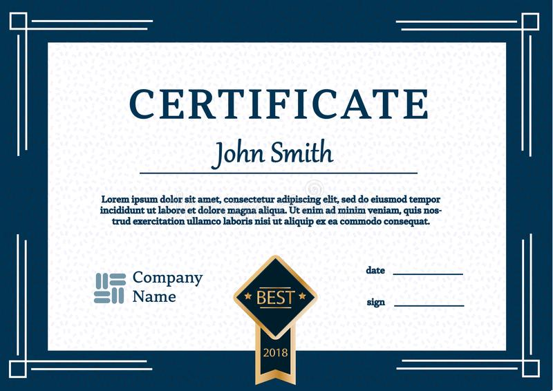 Certificate template awards diploma background vector A4 stock illustration