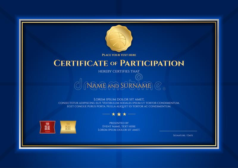 Certificate template in basketball sport theme with blue background and border frame, Diploma design stock illustration