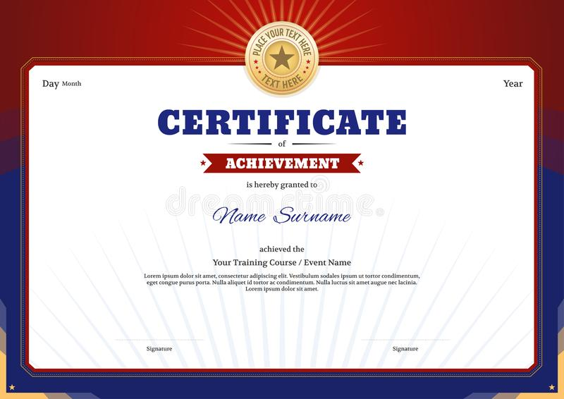 Certificate template border frame, Diploma design for sport event. Or any educational seminar or course vector illustration