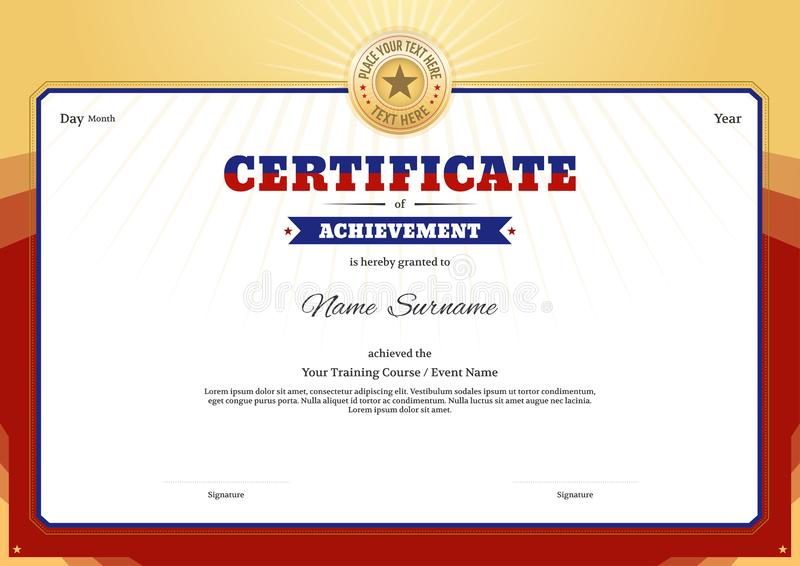 Certificate template border frame, Diploma design for sport event. Or any educational seminar or course royalty free illustration