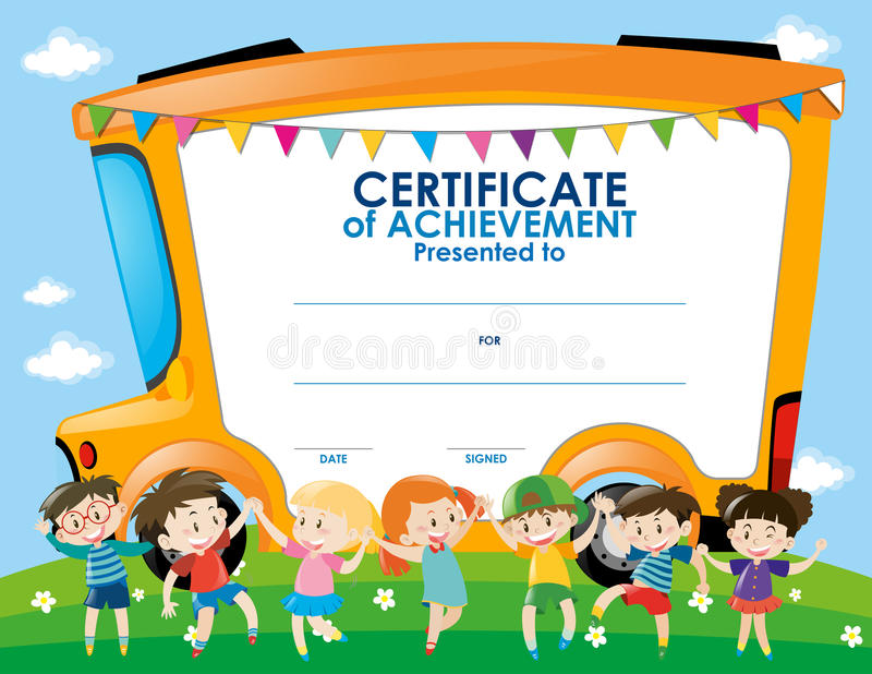Certificate template with children and school bus stock download certificate template with children and school bus stock illustration illustration of child clipart yadclub