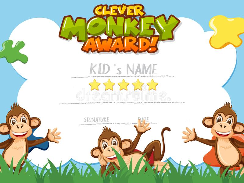 Certificate template for clever monkey award with monkeys in background 向量例证
