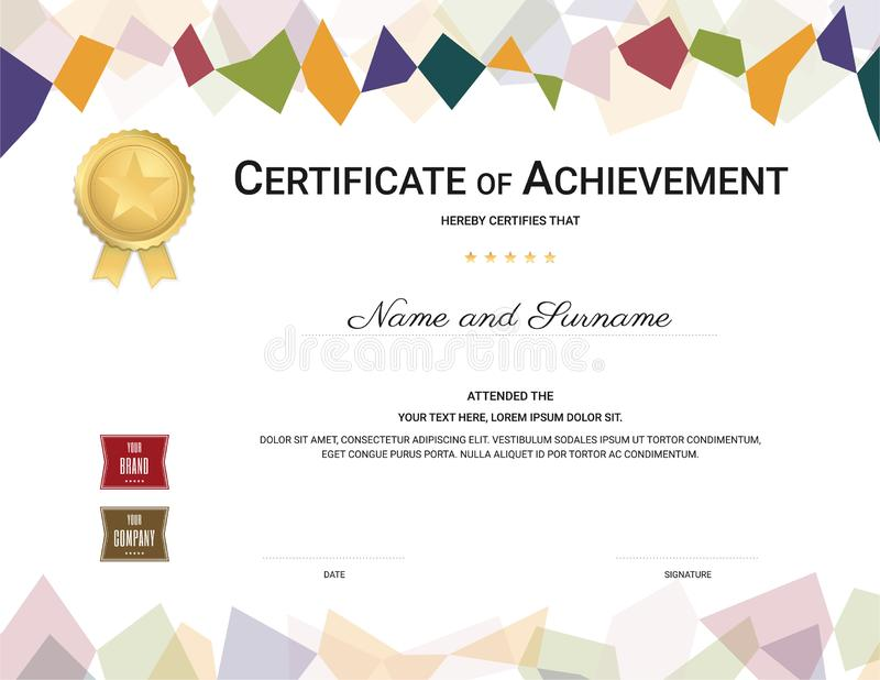 Certificate template in colorful theme with watermark background, Diploma design royalty free illustration