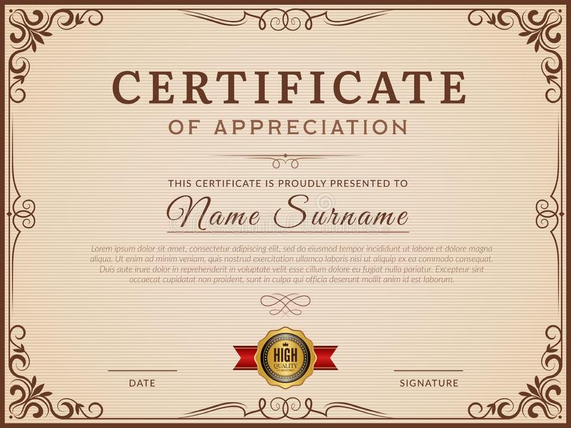 Certificate template. Decorative borders and corners for modern certificate vector layout. Certificate with border template, frame decoration ornament stock illustration