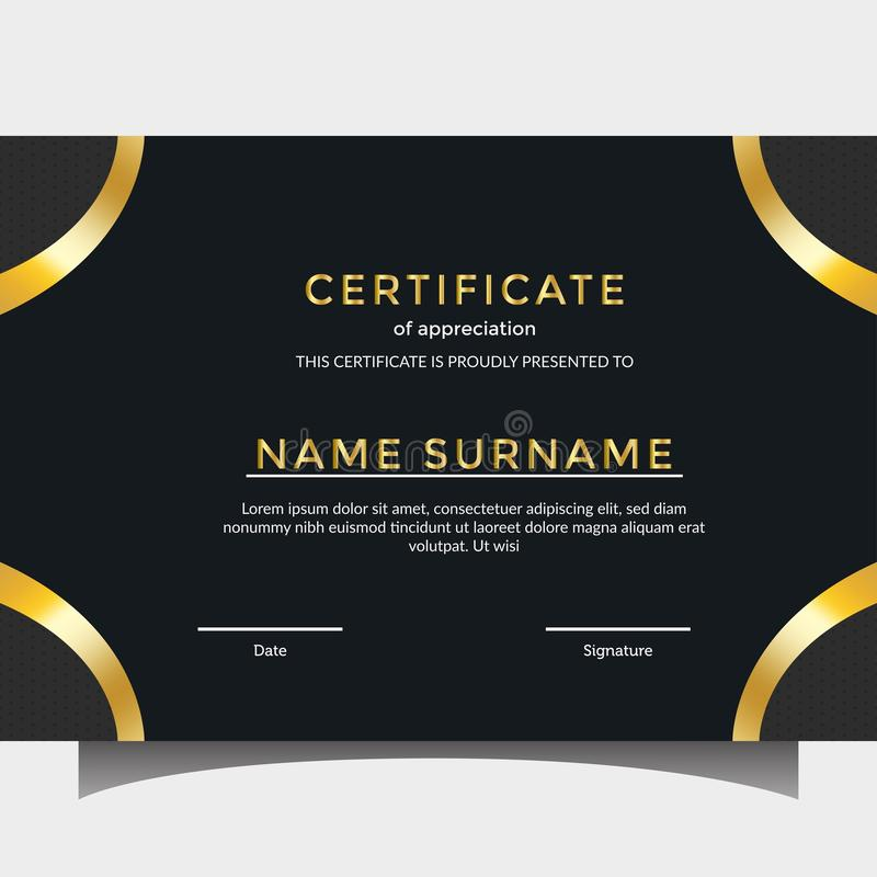 Golden certificate templates stock photo