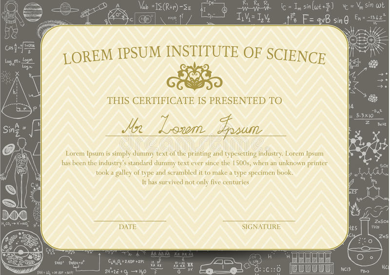Certificate Template Is Designed For Science Or Education Field And ...