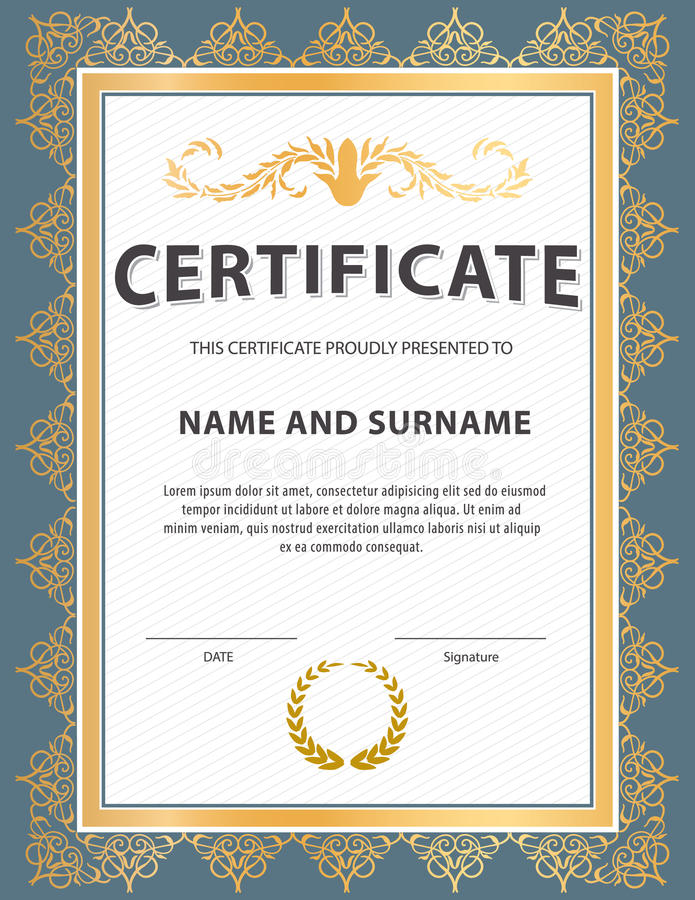 Certificate templatediplomaletter size vector stock vector download certificate templatediplomaletter size vector stock vector illustration of gold yadclub Gallery