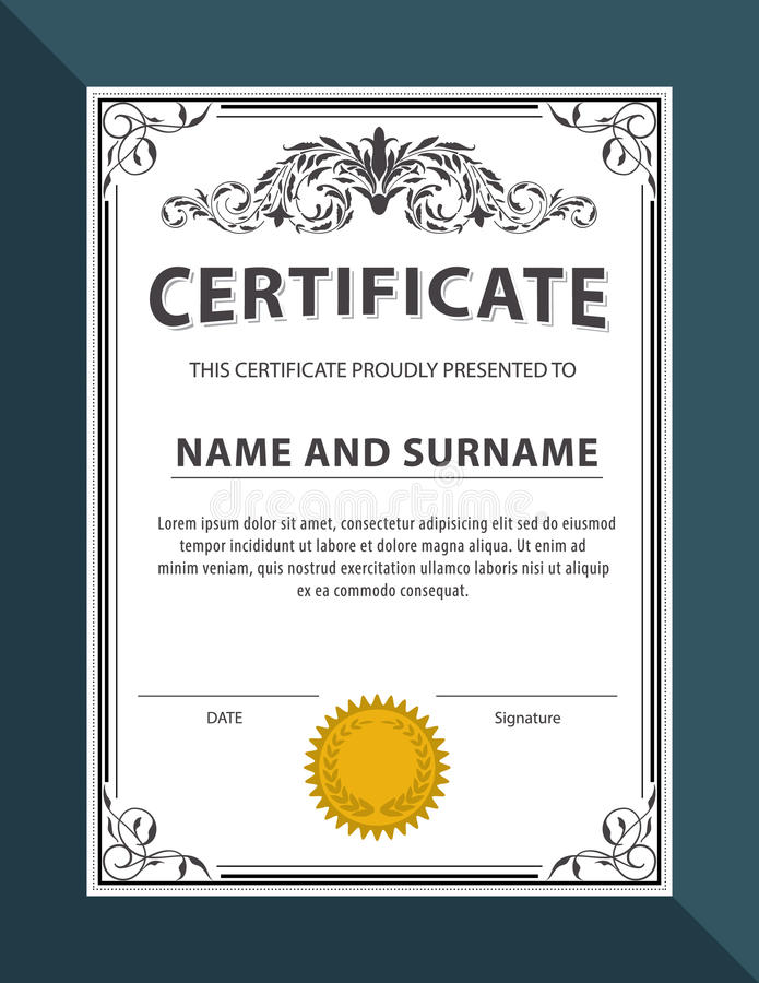 Certificate templatediplomaletter size vector stock vector download certificate templatediplomaletter size vector stock vector illustration of paper yadclub Gallery