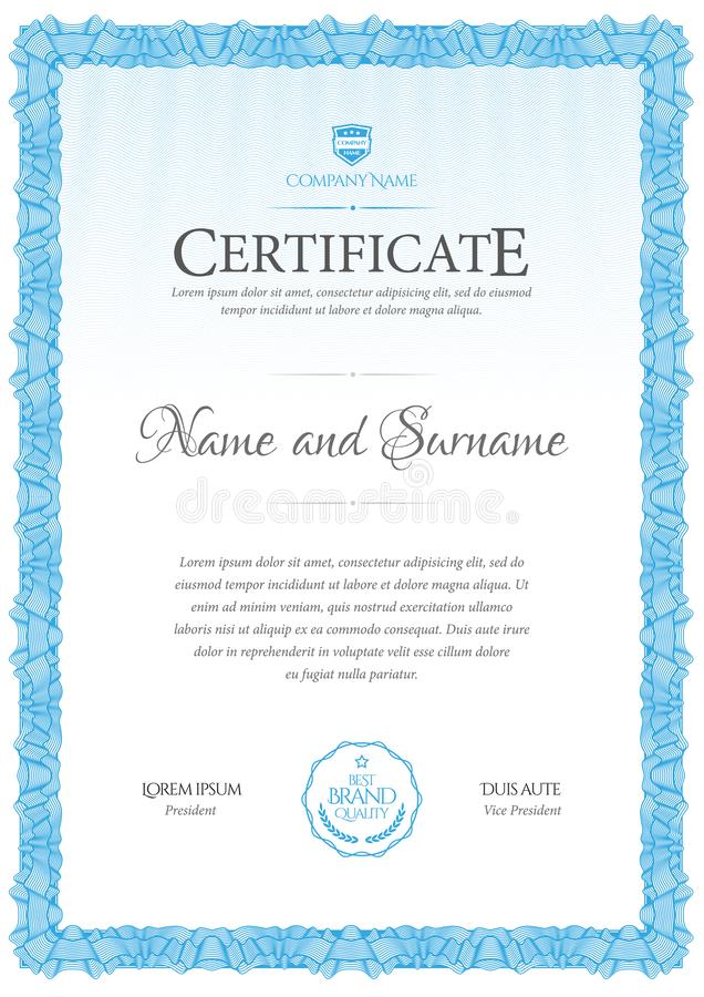 Certificate template. Diploma of modern design or gift certificate. Vector illustration stock illustration