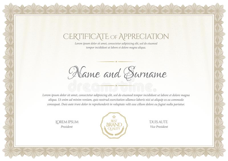 Certificate template. Diploma of modern design or gift certificate. stock photography