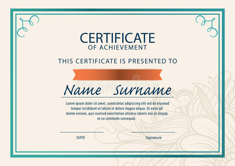 certificate template diploma a4 size   stock illustration