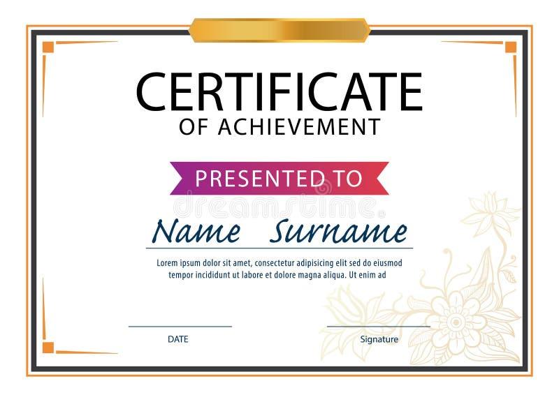 Certificate Templatediploma A4 Size Stock Illustration
