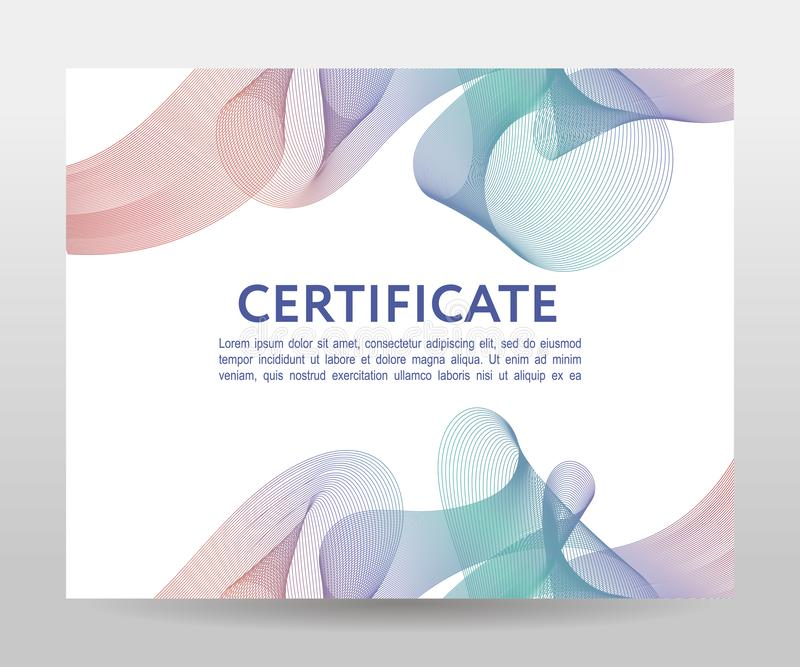 Certificate. Template diplomas, currency. Vector gradient frame. Certificate. Template diplomas currency Vector gradient, design, frame, print, award, background royalty free stock photos