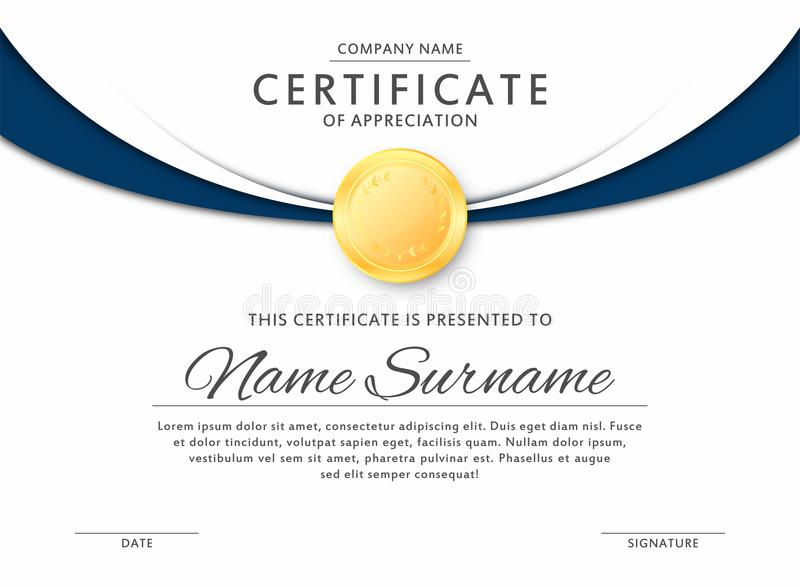 Certificate template in elegant black and blue colors. Certificate of appreciation, award diploma design template stock illustration