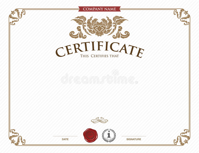 Certificate template and element. stock illustration