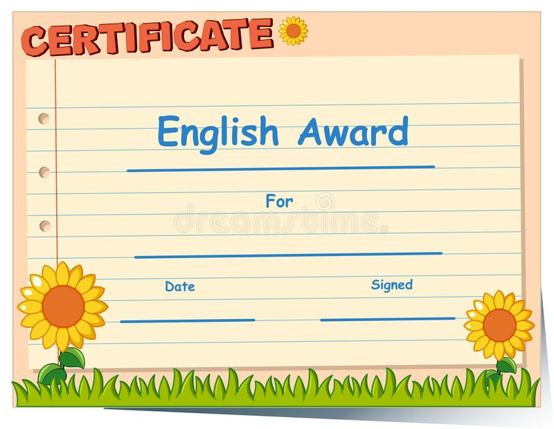 Certificate Template For English Award Stock Vector - Illustration ...