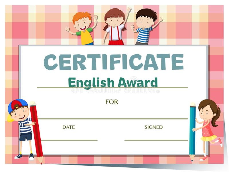 Certificate template for english award with many kids stock vector download certificate template for english award with many kids stock vector illustration of certification yelopaper Choice Image