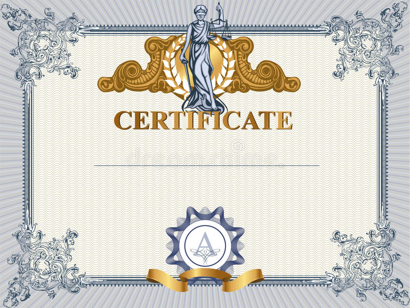 Certificate template with Femida. Blue detailed certificate template with Femida royalty free illustration