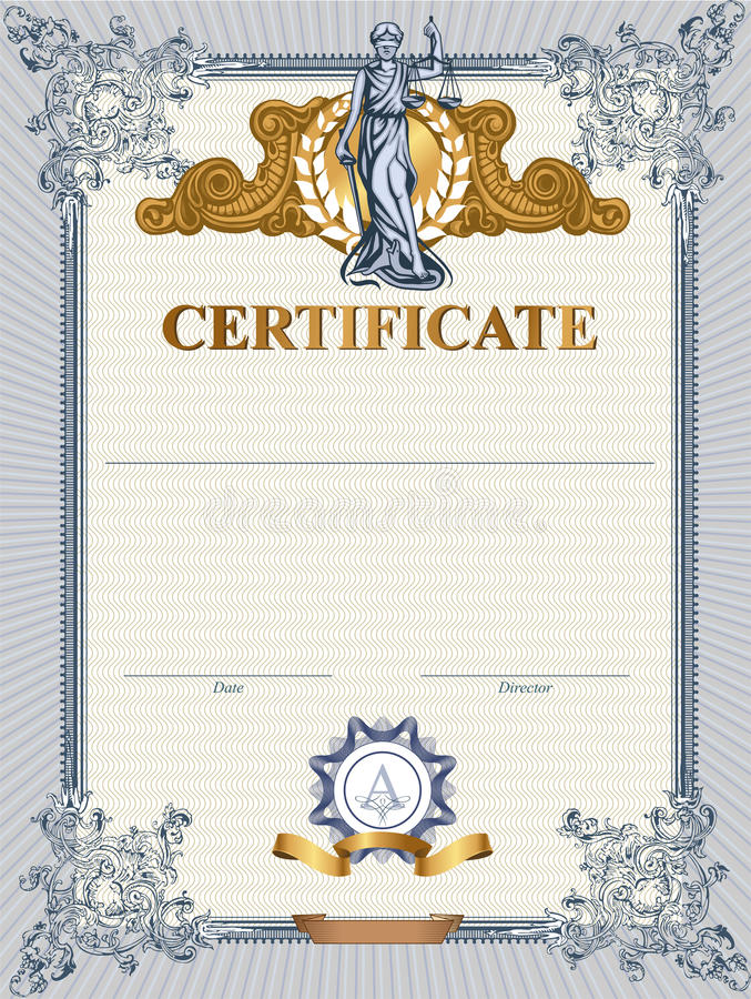 Certificate template with Femida. Blue detailed vector certificate template with Femida vector illustration