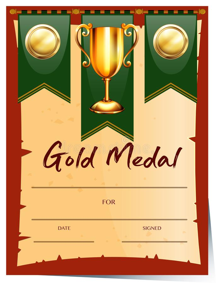 Certificate Template For Gold Medal Stock Vector Illustration Of