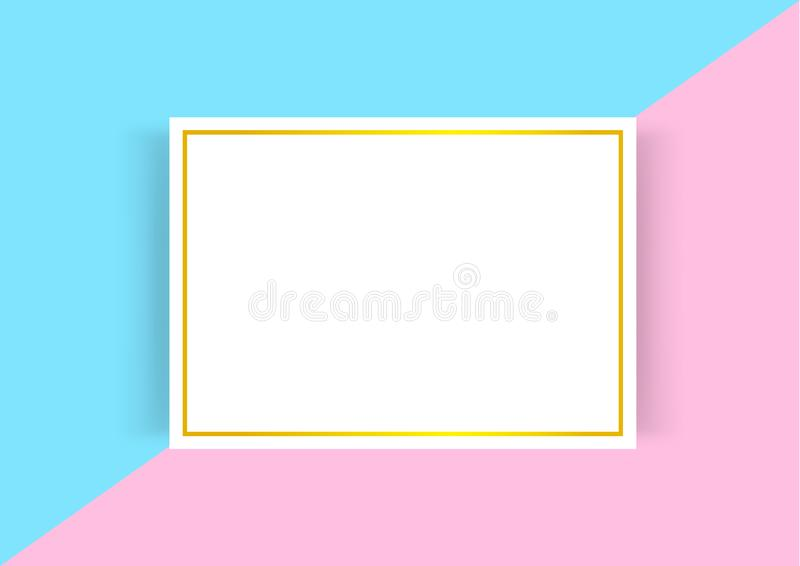 Certificate template with golden frame on blue pink pastel colors, empty certificate a4 frames on flat lay multi colors, a4 vector illustration