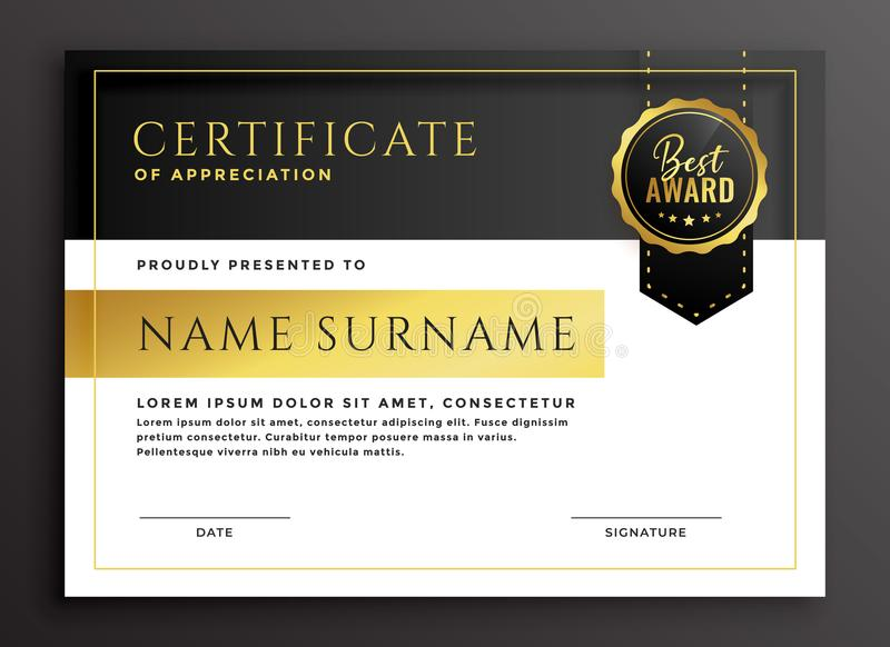Certificate template in golden luxury style vector illustration