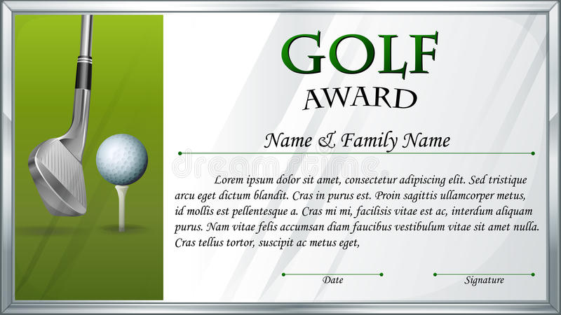 Certificate Template For Golf Award Stock Vector Illustration Of