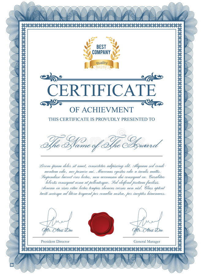Certificate template with guilloche elements. Blue diploma border design for personal conferment. Vector layout for award, patent, validation, licence royalty free illustration